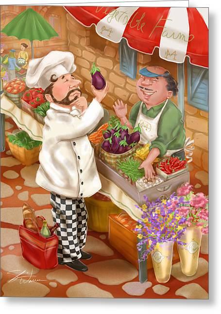 Chefs Go To Market I Greeting Card by Shari Warren