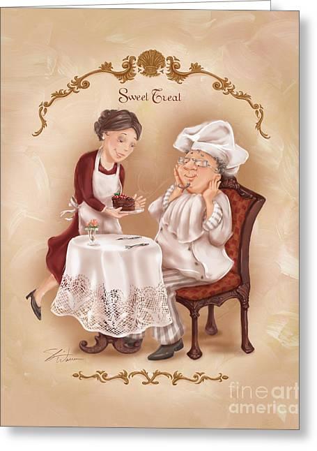 Chefs On A Break-sweet Treat Greeting Card by Shari Warren