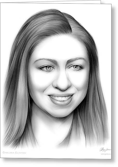Chelsea Clinton Greeting Card by Greg Joens