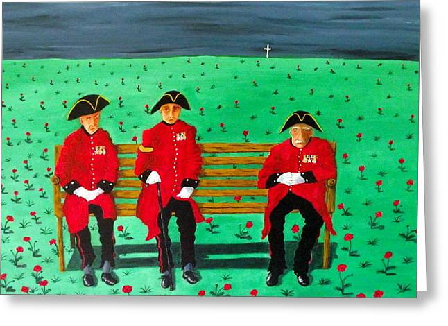 Chelsea Greeting Cards - Chelsea Pensioners Greeting Card by Sandy Wager