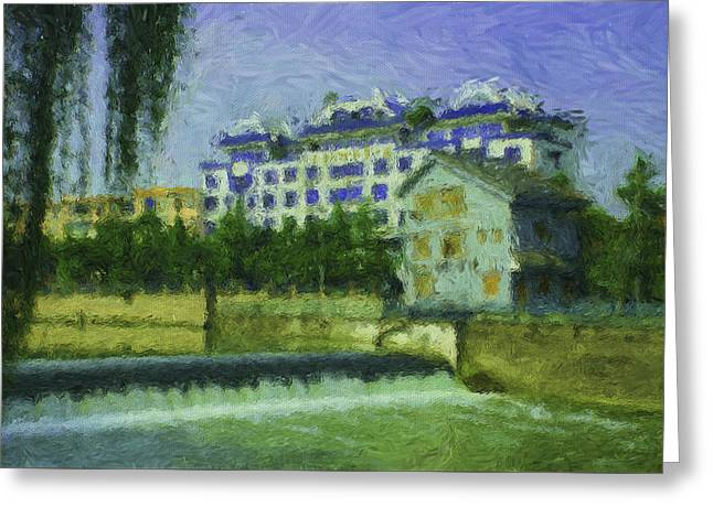 River View Greeting Cards - Chengdu River View Greeting Card by Yazz