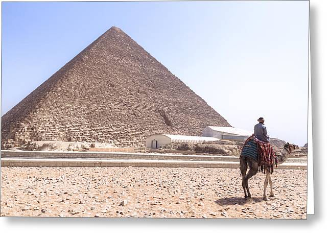 Camels Photographs Greeting Cards - Cheops Pyramid - Egypt Greeting Card by Joana Kruse
