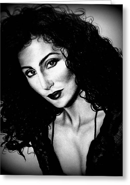 Gypsy Greeting Cards - Cher 1990s Greeting Card by Georgia Brushhandle