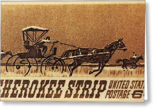 Postal Paintings Greeting Cards - Cherokee strip 1968 U.S. stamp Greeting Card by Lanjee Chee