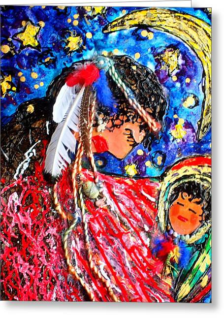 Blank Greeting Cards Mixed Media Greeting Cards - Cherokee Trail of Tears Mother and Child Greeting Card by Laura  Grisham