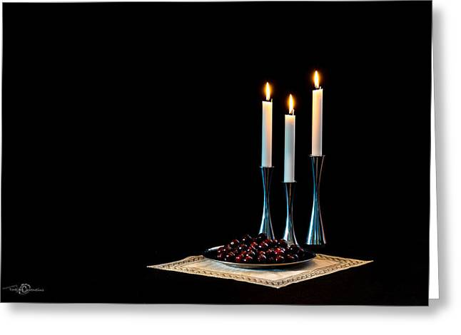 Cloth Greeting Cards - Cherries and candles in steel Greeting Card by Torbjorn Swenelius