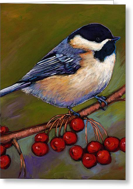 Wildlife Art Prints Greeting Cards - Cherries and Chickadee Greeting Card by Johnathan Harris