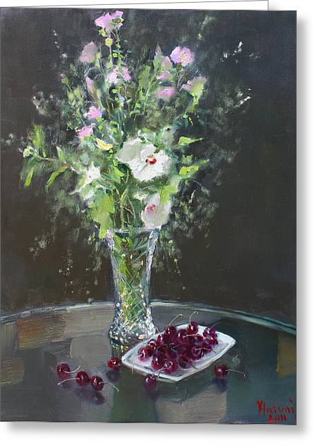 Cherry Greeting Cards - Cherries and Flowers for Her III Greeting Card by Ylli Haruni