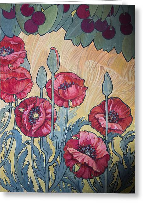 Cherries And Poppies Greeting Card by Irina Effa