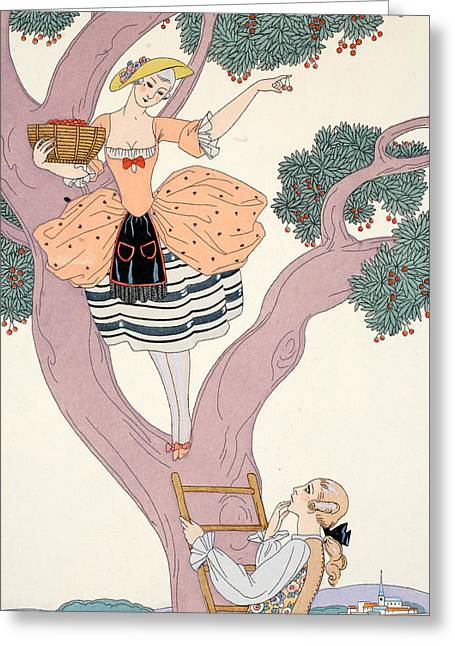 Beaux-arts Greeting Cards - Cherries Greeting Card by Georges Barbier
