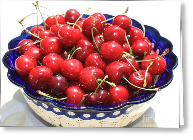 Fresh Food Greeting Cards - Cherries in Blue Bowl Greeting Card by Carol Groenen