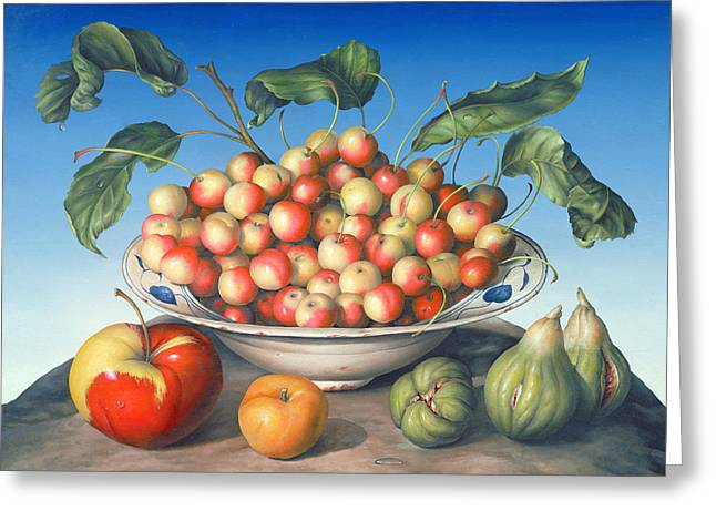 Yellow Apples Greeting Cards - Cherries in Delft bowl with red and yellow apple Greeting Card by Amelia Kleiser