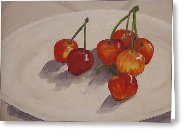 Stockton Paintings Greeting Cards - Cherries Temptation Greeting Card by Sharon Elizondo