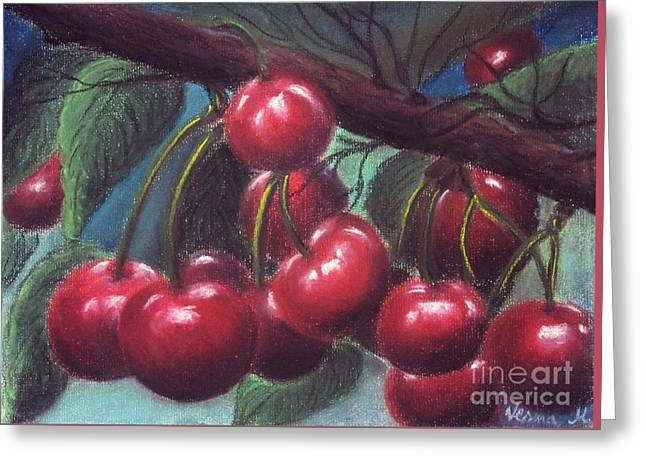 Spring Pastels Greeting Cards - Cherries Greeting Card by Vesna Martinjak