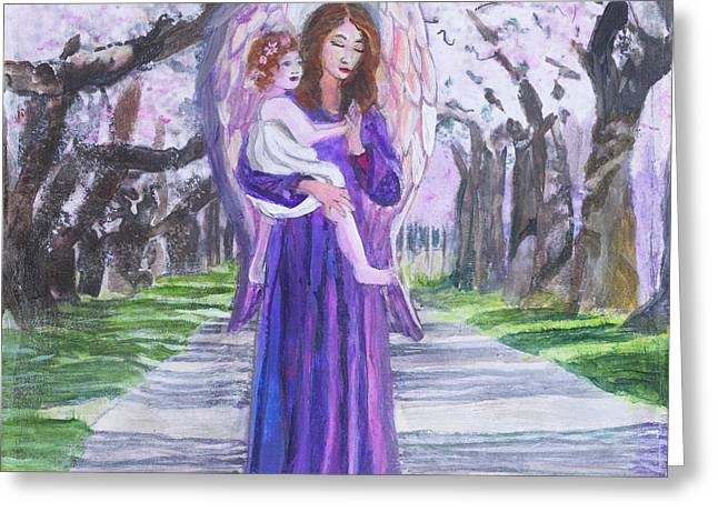 Cherry Blossom Angel And Child Greeting Card by Priscilla Greenbaum