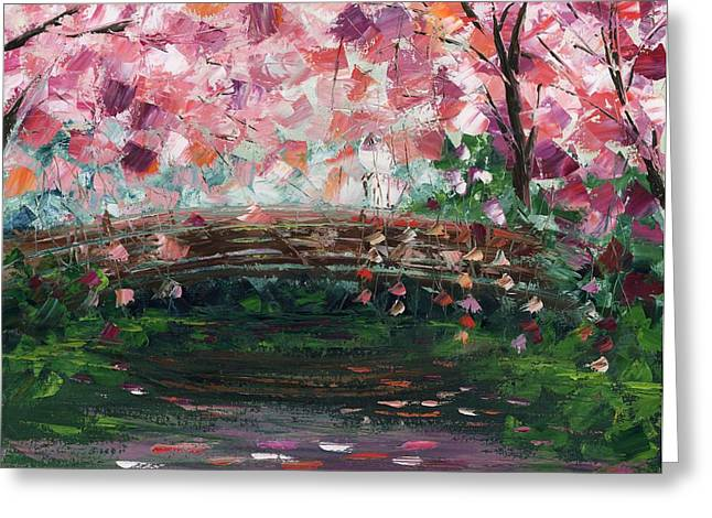 Cherry Blossoms Paintings Greeting Cards - Cherry Blossom Bridge Greeting Card by Ash Hussein