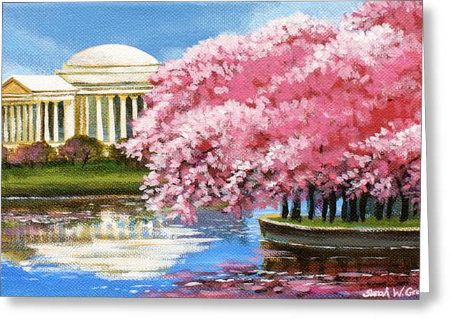 Cherry Blossoms Paintings Greeting Cards - Cherry Blossom Festival Greeting Card by Sarah Grangier