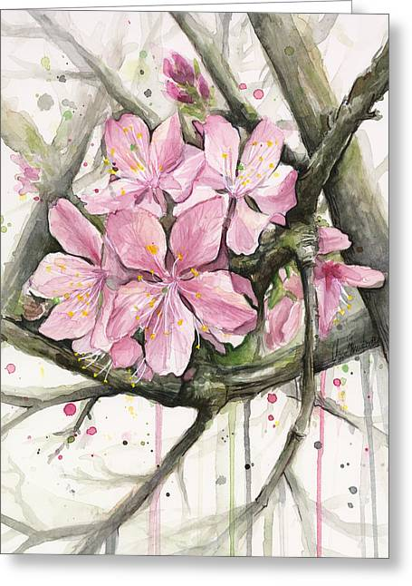 Blossoms Mixed Media Greeting Cards - Cherry Blossom Greeting Card by Olga Shvartsur