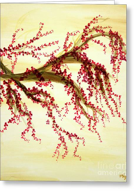 Cherry Blossoms Paintings Greeting Cards - Cherry Blossom Tree Panel 3 Greeting Card by Phung Martin