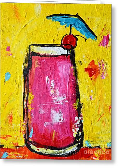 Cherry Blossoms Paintings Greeting Cards - Cherry Blossom - Tropical Drink Greeting Card by Patricia Awapara