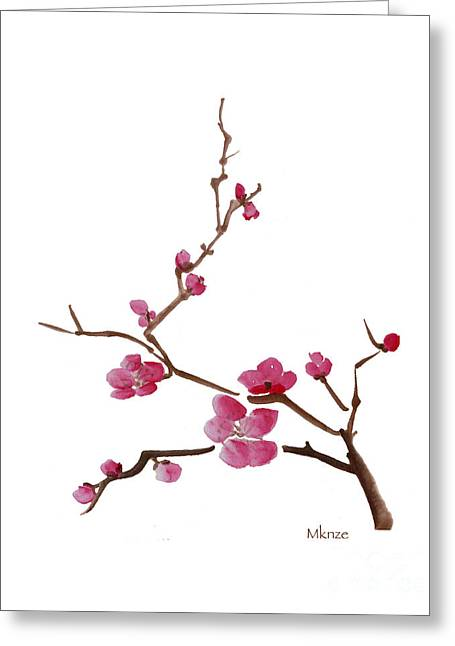 Cherry Blossoms Paintings Greeting Cards - Cherry Blossoms 1c Greeting Card by McKenzie Leopold