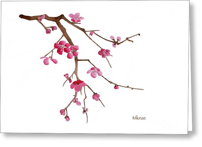 Cherry Blossoms Paintings Greeting Cards - Cherry Blossoms 2a Greeting Card by McKenzie Leopold