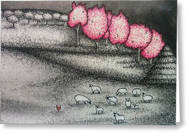Orchard Drawings Greeting Cards - Cherry Blossoms and Sheep Greeting Card by Summer Porter