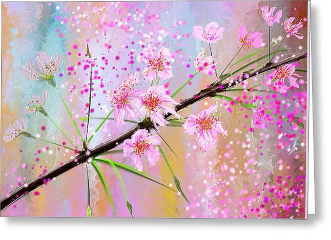 Soft Pinks Greeting Cards - Cherry Blossoms Art Greeting Card by Lourry Legarde
