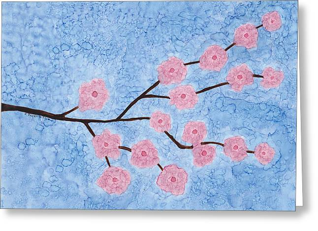 Cherry Blossoms Paintings Greeting Cards - Cherry Blossoms Branch Greeting Card by Karen Pappert
