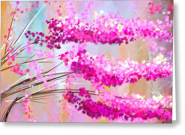 Soft Pinks Greeting Cards - Cherry Blossoms Impressionist Greeting Card by Lourry Legarde