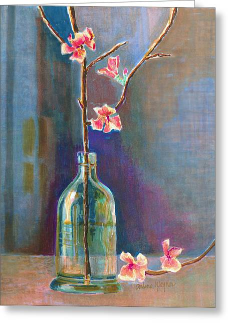 Cherry Blossoms Paintings Greeting Cards - Cherry Blossoms In A Bottle Greeting Card by Arline Wagner