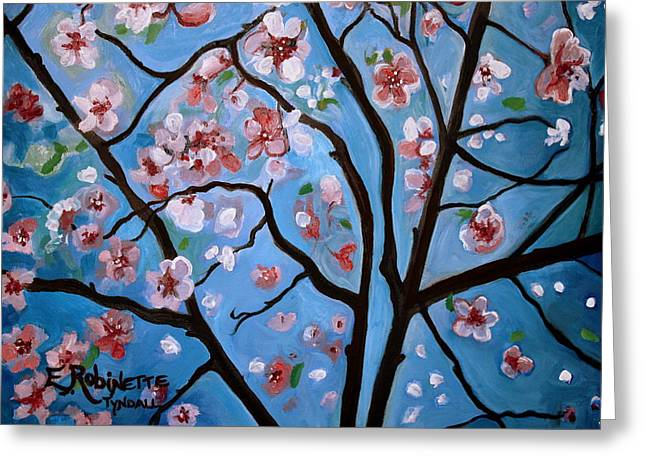 Cherry Blossoms In Bloom Greeting Card by Elizabeth Robinette Tyndall