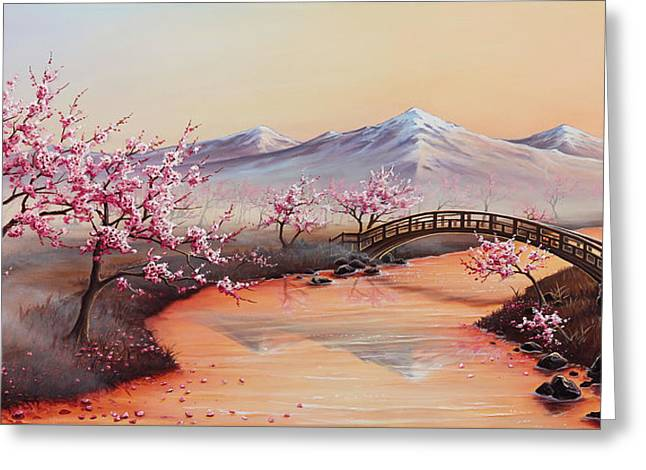 Cherry Blossoms In The Mist - Revisited Greeting Card by Joe Mandrick
