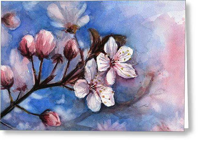 Cherry Blossoms  Greeting Card by Olga Shvartsur