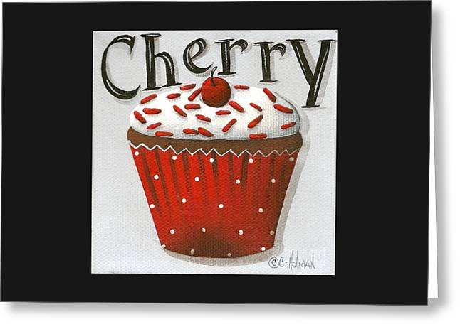 Catherine White Paintings Greeting Cards - Cherry Celebration Greeting Card by Catherine Holman