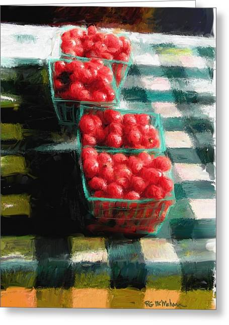 Recently Sold -  - Farm Stand Greeting Cards - Cherry Tomato Basket Greeting Card by RG McMahon