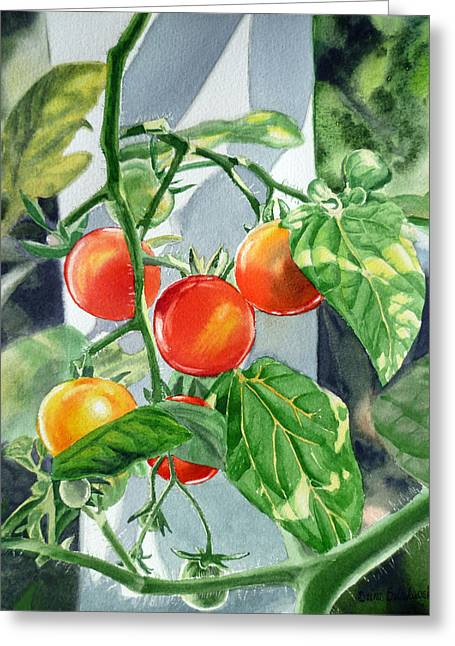 Best Sellers -  - Labelled Greeting Cards - Cherry Tomatoes Greeting Card by Irina Sztukowski