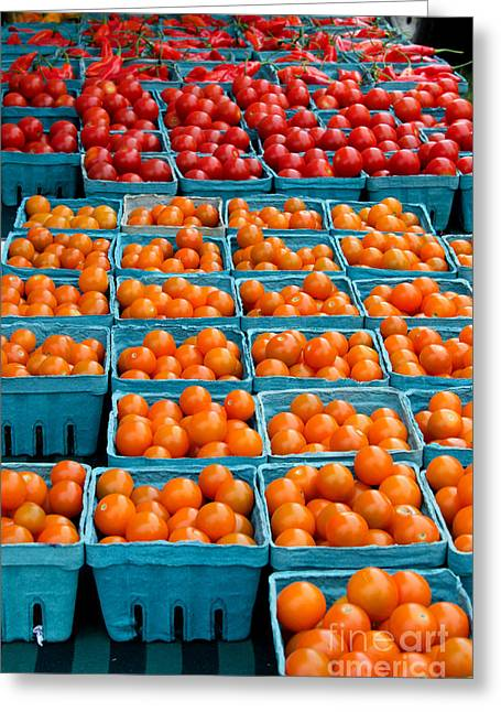 Farm Stand Greeting Cards - Cherry Tomatoes Greeting Card by Jennifer Booher