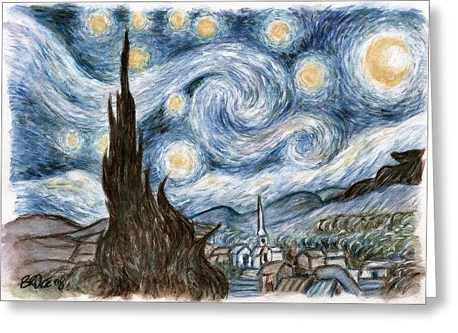 Stary Greeting Cards - Chers Stary Night Greeting Card by Bruce Lennon