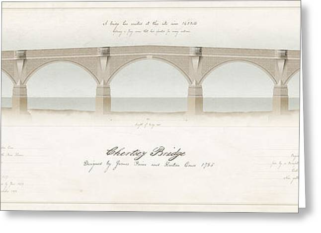 Historic England Drawings Greeting Cards - Chertsey Bridge Greeting Card by Justin Fagence