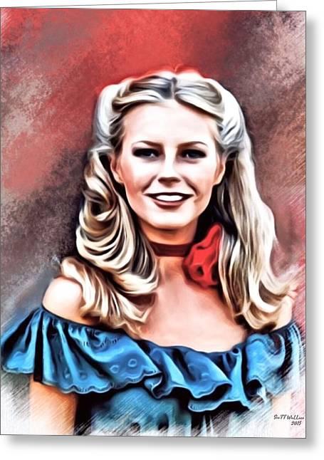 Munroe Digital Art Greeting Cards - Cheryl Ladd Portrait Greeting Card by Scott Wallace