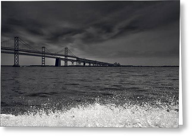 Recently Sold -  - Bay Bridge Greeting Cards - Chesapeake Bay Bridge Black  White  Greeting Card by Glenn Thompson