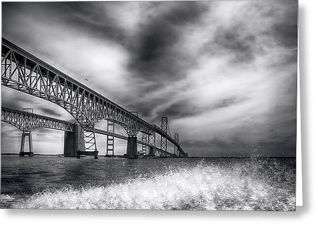 Recently Sold -  - Bay Bridge Greeting Cards - Chesapeake Bay Bridge Greeting Card by Glenn Thompson
