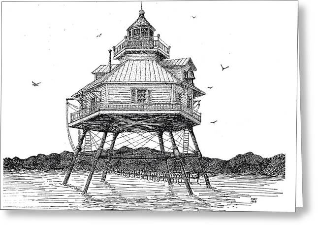 Stippling Drawings Greeting Cards - Chesapeake Lighthouse Greeting Card by Ken Jones