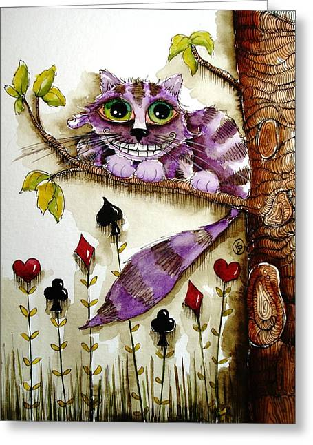 Cheshire Cat Greeting Card by Lucia Stewart