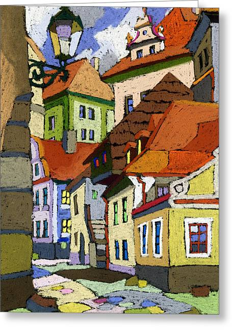 Building Greeting Cards - Chesky Krumlov Masna Street 1 Greeting Card by Yuriy  Shevchuk