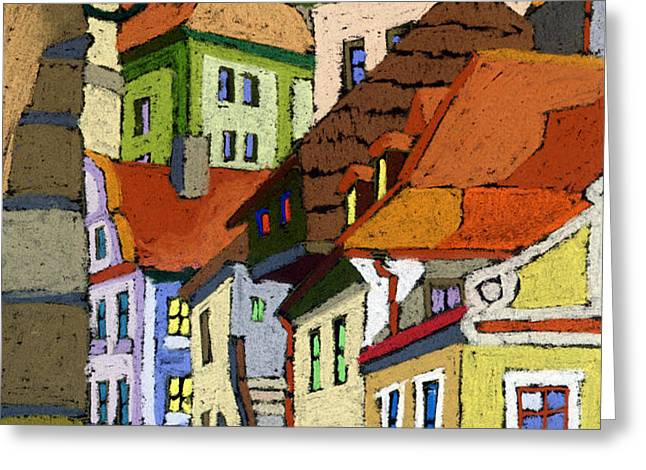 Chesky Krumlov Masna Street 1 Greeting Card by Yuriy  Shevchuk