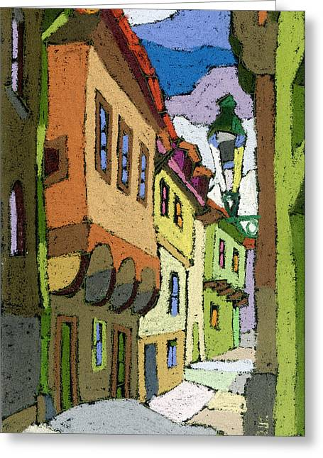 Czech Greeting Cards - Chesky Krumlov Street Nove Mesto Greeting Card by Yuriy  Shevchuk