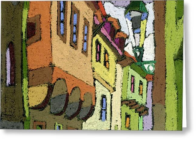 Chesky Krumlov Street Nove Mesto Greeting Card by Yuriy  Shevchuk