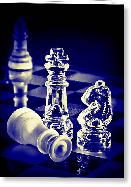 Chess In Blue Greeting Card by Vicki McLead